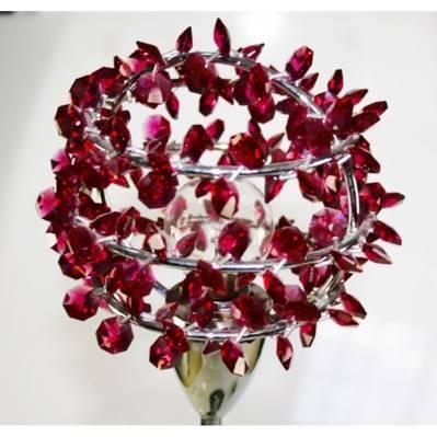 Lume con foglie in cristallo e acciaio