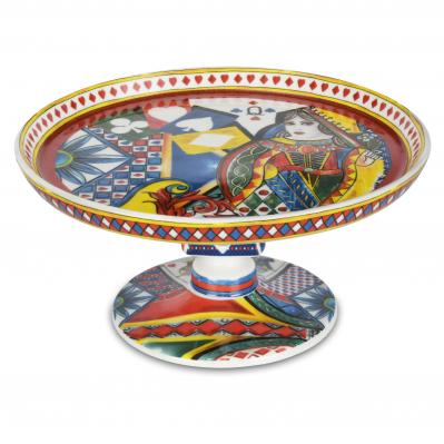 Alzatina in porcellana in stile moderno Regina di Cuori