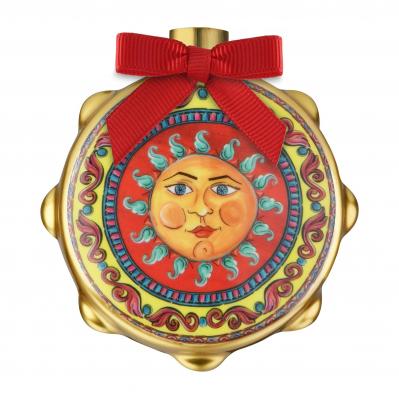 """Decorazione di natale con tamburello stemma del sole """"Le Gioie"""""""