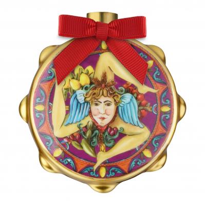 """Decorazione di natale con tamburello stemma trinacria """"Le Gioie"""""""