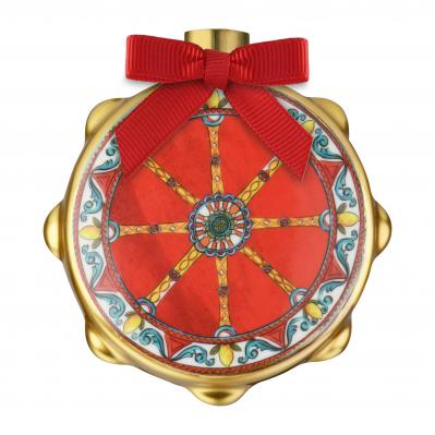 """Decorazione natalizia con tamburello stemma carretto """"Le Gioie"""""""