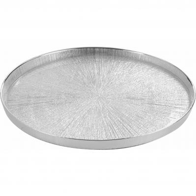 Vassoio centrotavola in vetro LUCE 32cm c/4 bicchieri - ARGENTO