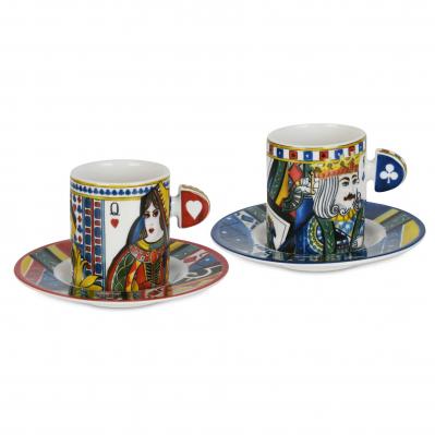 Set 2pz Tazzine per caffè con piattino dal design moderno Regina di Cuori