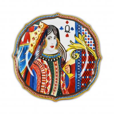 Set 6pz piatti frutta in porcellana Regina di Cuori