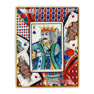 Svuotatasche rettangolare moderno in porcellana Regina di Cuori