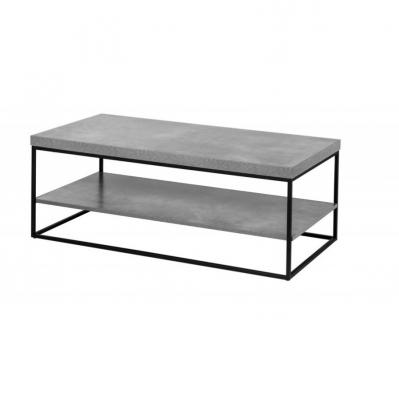 Tavolino Rettangolare 2 Piani - Grigio Cemento