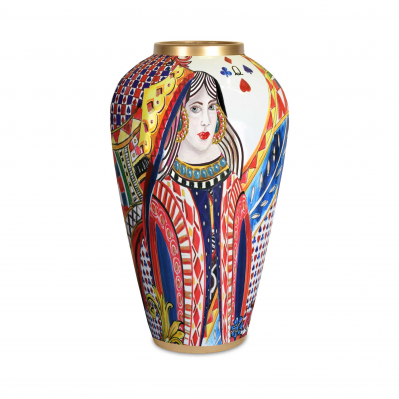 Vaso grande in porcellana dal design moderno Regina di Cuori