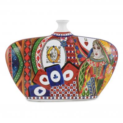 Vaso largo moderno in porcellana Regina di Cuori