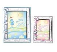 Cornice portafoto con fiocco e scarpine in celeste - 13x18cm