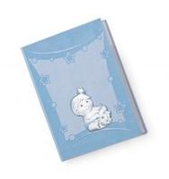Diario neonato con bimbi con biberon in azzurro - 15x21 cm