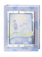 Album portafotografie con cornice (13x18cm) con fiori in azzurro - 20x25cm