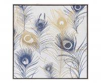 Quadro con cornice stampa serigrafica piume - L'Oca Nera
