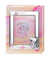 Album portafotografie con cornice (13x18cm) con elefantino in rosa - 20x25cm
