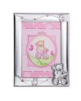 Portafotografie 9x13 con orsetto in carrozzina e paperella in rosa