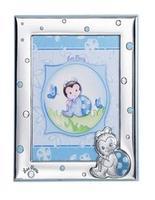 Album portafoto con cornice (9x13cm) con coccinella in azzurro - 20x25cm