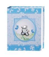 Album portafotografie con orso in carrozzina in azzurro - 20x25cm