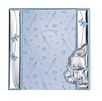 Portafoto a giorno 21x21 con coniglietto e farfalle in azzurro
