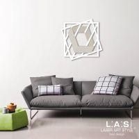 Quadro in mdf con rombi e figura effetto 3D in tema geometrico - Laser Art Style
