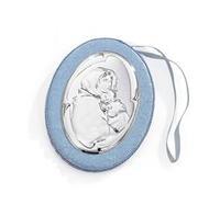 Medaglione carillon per culla in argento - Madonna con bambino dormiente