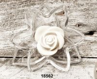 Ninfea con foglia in cristallo e fiore in gesso