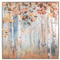 Quadro con cornice stampato in serigrafia foglie d'autunno  - L'Oca Nera