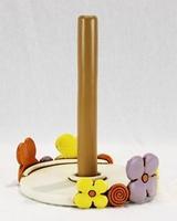 Portarotolo con decoro floreale - ceramica