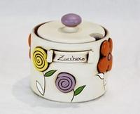 Zuccheriera con decoro floreale - ceramica