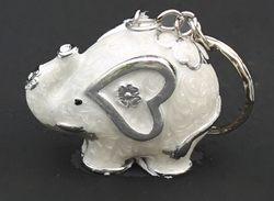 Portachiavi elefante in resina argentata - Claraluna