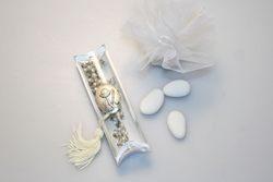 Bomboniera - Scatola a tubo con Rosario con decoro a calice in argento e saccoccino