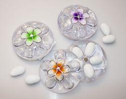 Cofanetto portaconfetti in plex con fiore - vari colori