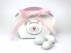 Scatola portaconfetti bianca e rosa orsetto