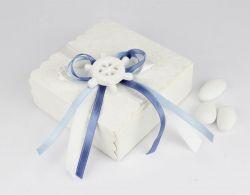 Scatola contenitore portaconfetti tema marino - nautico con timone - bomboniera per Matrimoni/Nascit