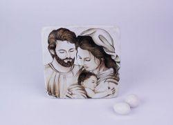 Icona Sacra Famiglia bomboniera battesimo/prima comunione
