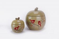 Biscottiera mela con disegno uccellini