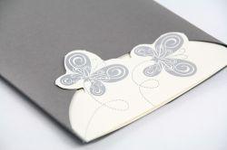 Partecipazione rettangolare con farfalle argento