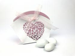 Scatola portaconfetti bianca e rosa cuore
