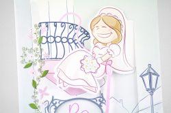 Partecipazione estraibile con illustrazione sposi