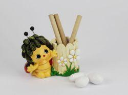 Porta matite + 3 matite Coccinella - bomboniera Margot Italia