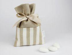 Sacchettino porta confetti righe linea ISCHIA - bomboniera  per matrimonio o per comunione