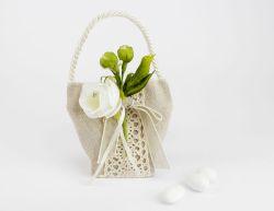 Borsetta portaconfetti tortora pizzo con applicazione fiori - Nozze / 1° Comunione