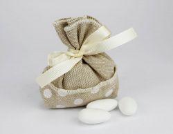 Saccoccino portaconfetti pois linea MANU- per nozze o prima comunione