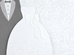 Partecipazione con vestiti da sposi