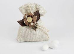 Sacchettino porta confetti con Fiore - Matrimonio / Prima Comunione