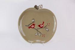 Piatto mela con disegno uccellini