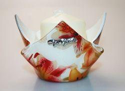 Portacandela in vetro con decorazione floreale - 8cm - Gai Mattiolo