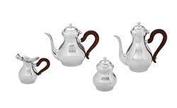 Servizio da caffè inglese con manici in legno - 4 pezzi
