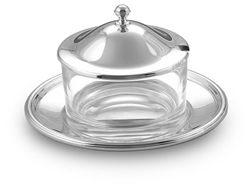 Formaggera tonda inglese in argento e cristallo.