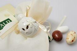 Coccinella in ceramica bianca