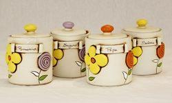 Barattolo spezie colori assortiti con decoro floreale - ceramica