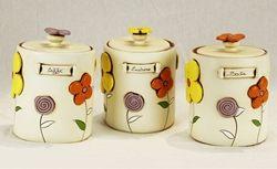 Barattoli assortiti con decoro floreale - ceramica